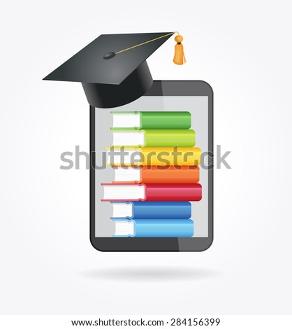 E-book reader with books and academic cap. The concept of e-learning. File is saved in AI10 EPS version. This illustration contains a transparency - stock vector