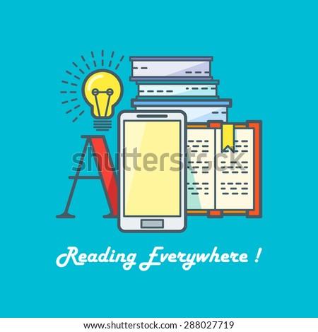 E-book reading concept. Line art vector illustration - stock vector