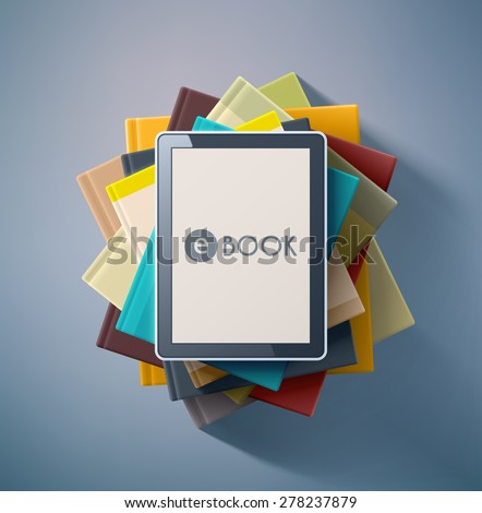 E-book, stack of books, eps 10 - stock vector