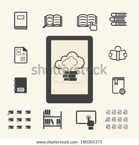 E-book with cloud computing icons set. - stock vector