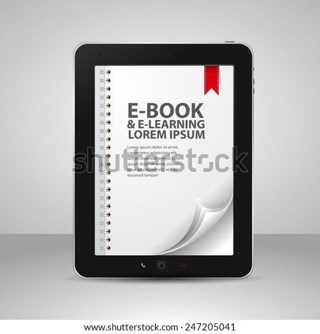 E-books and Tablet Computer with Pages and Books  - stock vector