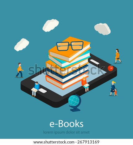 E-books isometric concept. Online mobile library in smartphone.  Books  in smart phone tablet,  micro people reading books,  vector illustration - stock vector