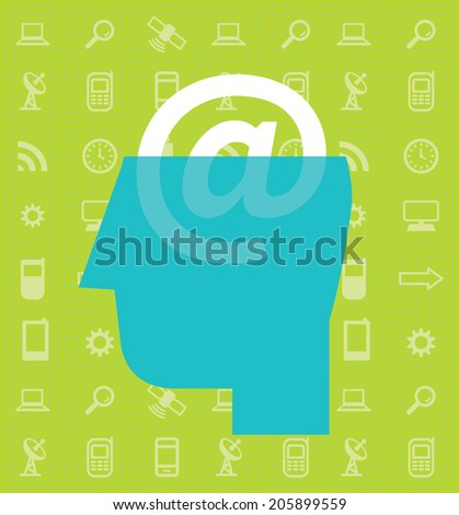 e-brain - stock vector