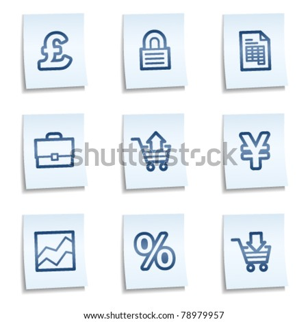 E-business web icons,  blue notes