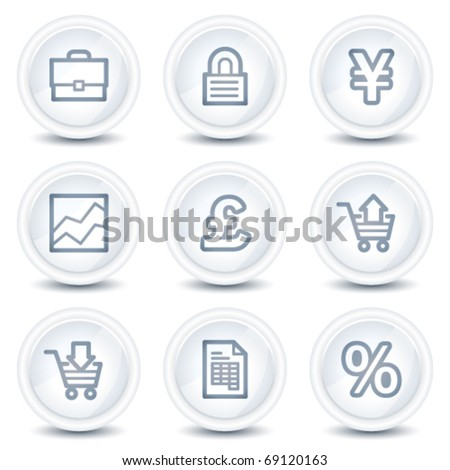 E-business web icons, white glossy circle buttons