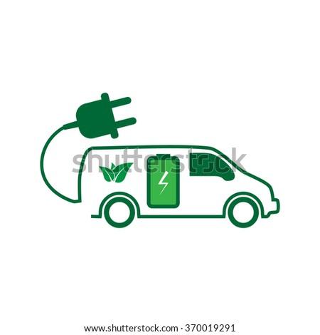 E-car. Eco car. Electric icon. Charging electric car - stock vector