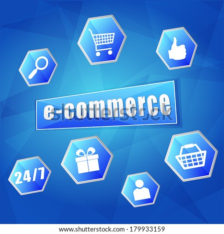 e-commerce and business internet concept signs - text and symbols in hexagons over blue background, flat design, vector - stock vector