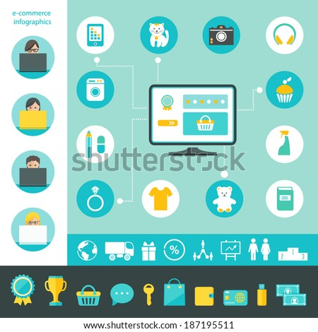 E-commerce and Online Shopping Infographics  - stock vector