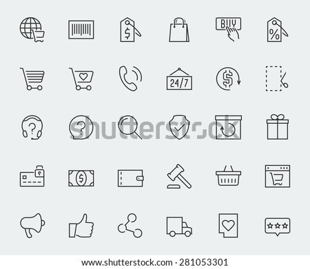 E-commerce and online shopping related vector icon set  - stock vector