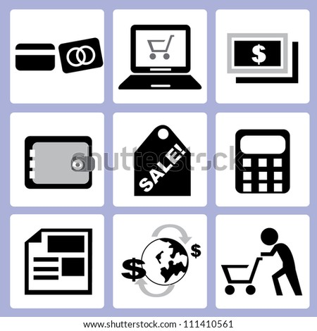 e commerce and shopping set - stock vector