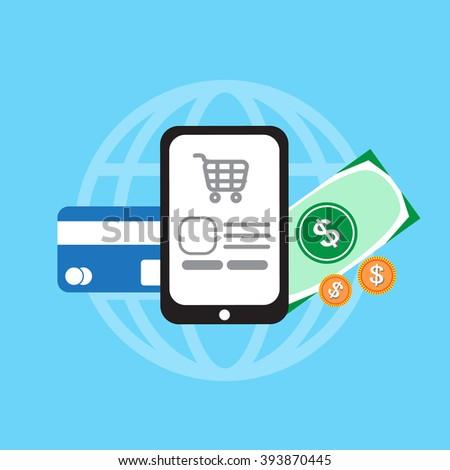 e-commerce concept minimal design, shoping, illustation vector - stock vector