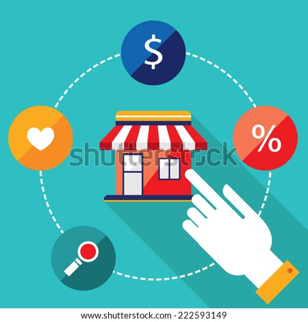E-commerce concept. Person choosing a shop to buy, sell products. Online shopping.. Vector illustration - stock vector