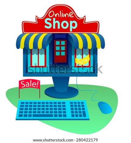 E-commerce conception of desktop computer with a shop icon. Vector flat illustrations - stock vector