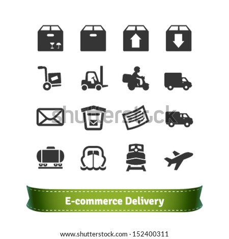 E-commerce Delivery and Transportation Icons - stock vector