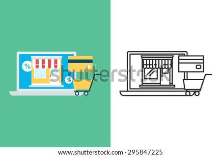 E-commerce flat and line style vector icon