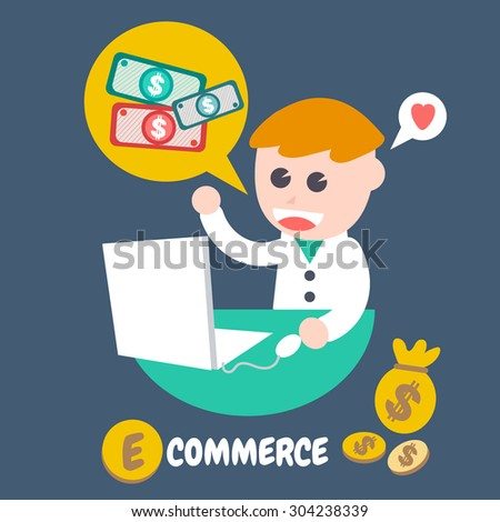 E Commerce , Flat Design Elements. Vector Illustration.
