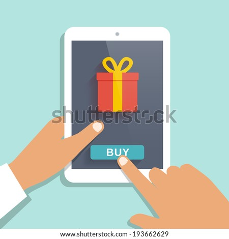 E commerce flat vector background. Man holds tablet PC and buys gift - stock vector