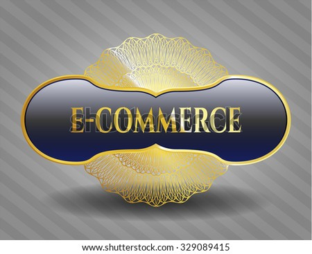 e-commerce gold badge - stock vector