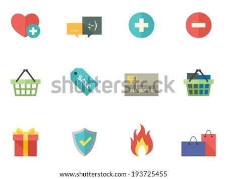 E-commerce icon series in flat colors style - stock vector