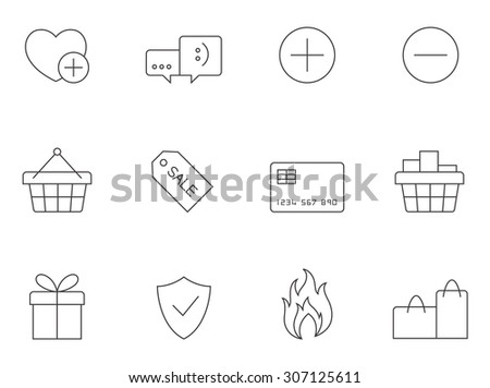E-commerce icons in thin outlines. Sale, shopping. - stock vector