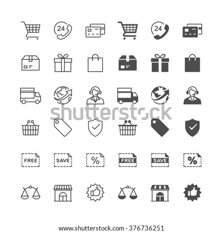E-commerce icons, included normal and enable state. - stock vector