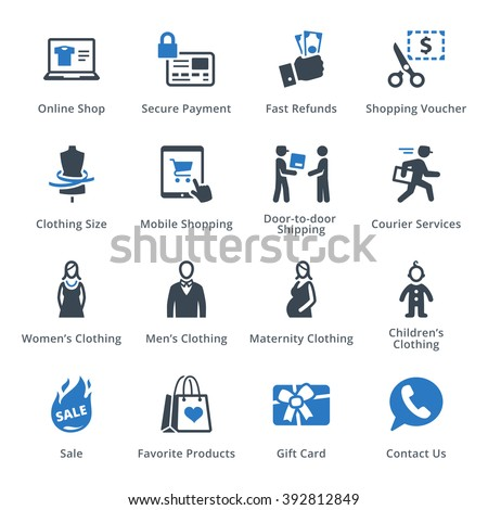 E-commerce Icons Set 1 - Blue Series - stock vector