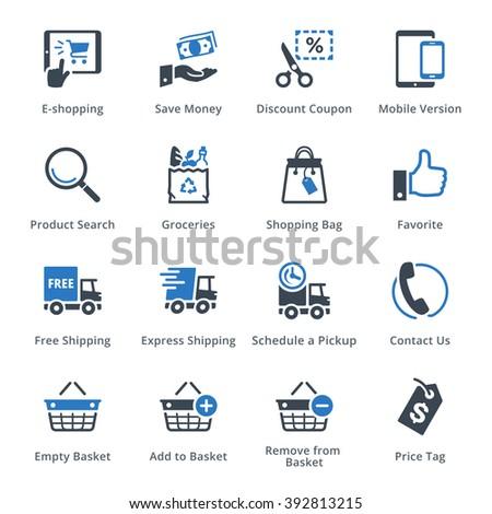 E-commerce Icons Set 4 - Blue Series - stock vector