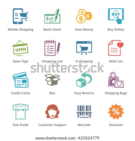 E-commerce Icons Set 3 - Colored Series - stock vector