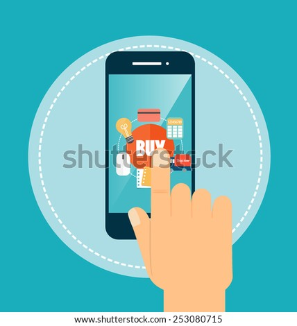 E-commerce ideas with Online store - stock vector
