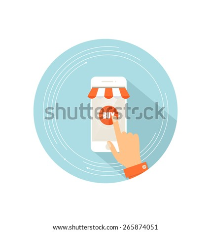 E-commerce ideas with Online store, vector Illustration. - stock vector