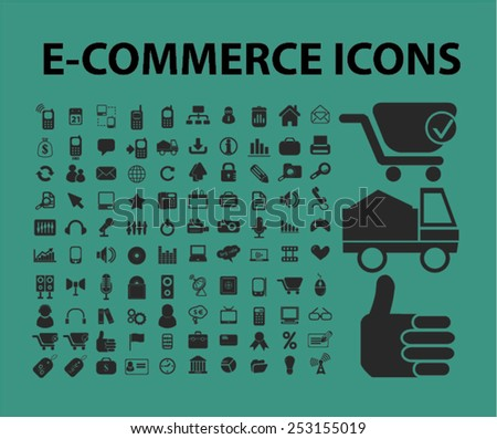 e-commerce, internet marketing, retail concept - flat isolated icons, signs, illustrations set, vector - stock vector