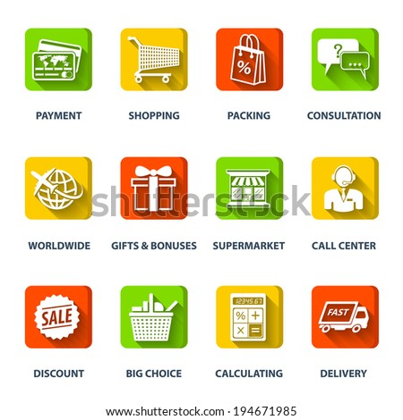 E-commerce internet shopping icons set of worldwide supermarket call center elements isolated vector illustration - stock vector