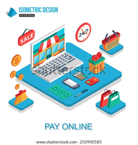 E-commerce, pay online and online shopping concept. Flat 3d isometric design. Infographic concept with place for text. Vector illustration. - stock vector