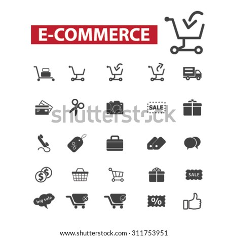 e-commerce, shopping black isolated concept icons, illustrations set. Flat design vector for web, infographics, apps, mobile phone servces - stock vector