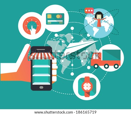 e-commerce symbols, shopping on mobile. flat design element. Vector illustration - stock vector