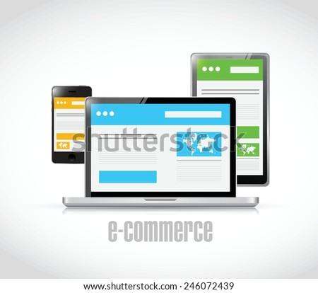e-commerce technology concept illustration design over a white background - stock vector