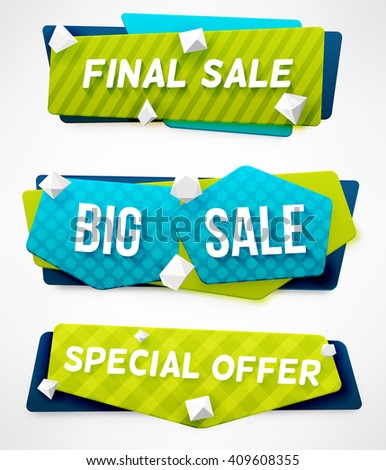 E-commerce vector banner set. Nice plastic cards in material design style. Final Sale Banner. Big Sale Banner. Special Offer Banner. Sale Banner Templates. Abstract Banner Templates.