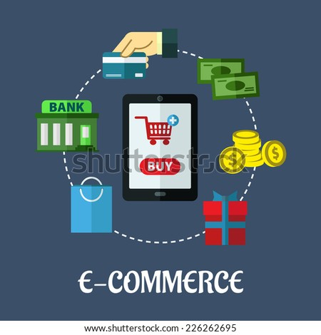 E-commerce vector flat concept showing various payment options with a central tablet displaying a shopping cart surrounded by icons for a bag, bank, credit card, banknotes, coins and gift - stock vector