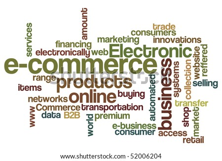 e-commerce - Word Cloud - stock vector