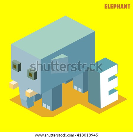 E for elephant, Animal Alphabet collection. vector illustration - stock vector