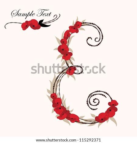 E, hand drawn flower alphabet - stock vector