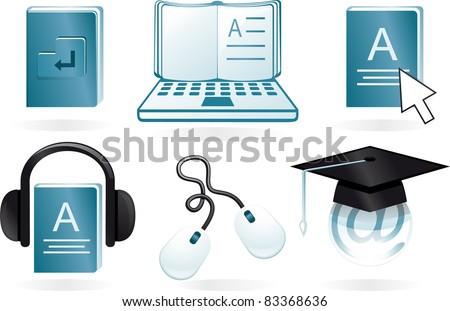 e learning cartoon icons - stock vector