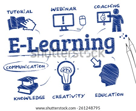E-Learning. Chart with keywords and icons - stock vector