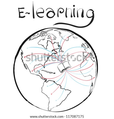 e learning concept book on world sketch vector - stock vector