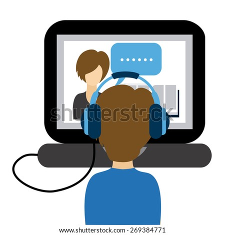 e-learning concept design, vector illustration eps10 graphic  - stock vector
