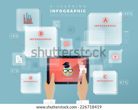 e-learning concept infographic with hands holding tablet  - stock vector