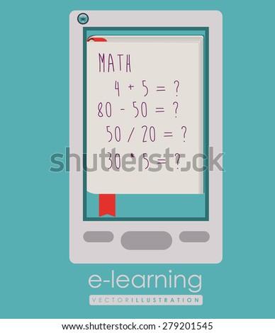 e-learning design over blue background, vector illustration - stock vector