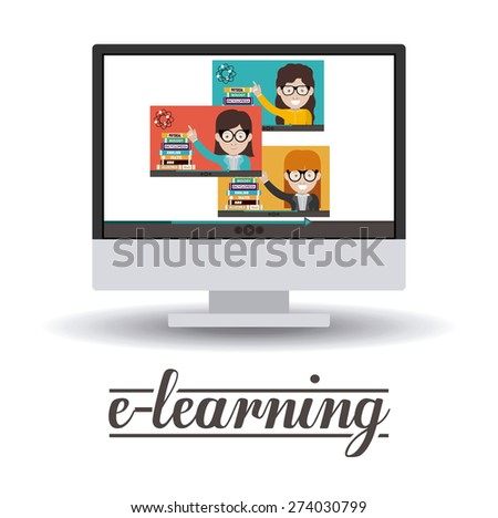 e-learning design over white background, vector illustration