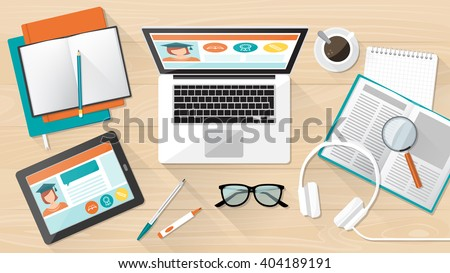 E-learning, education and university banner, student's desktop with laptop, tablet and books - stock vector