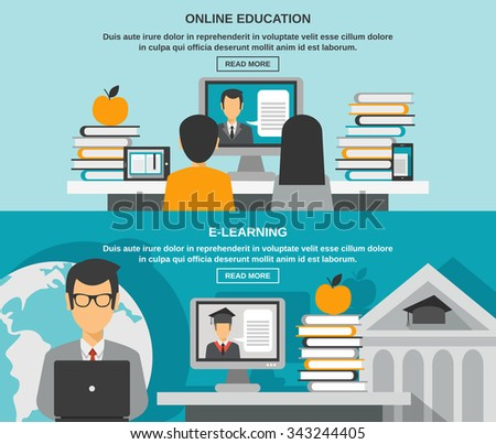 E-learning horizontal banner set with online education elements isolated vector illustration - stock vector